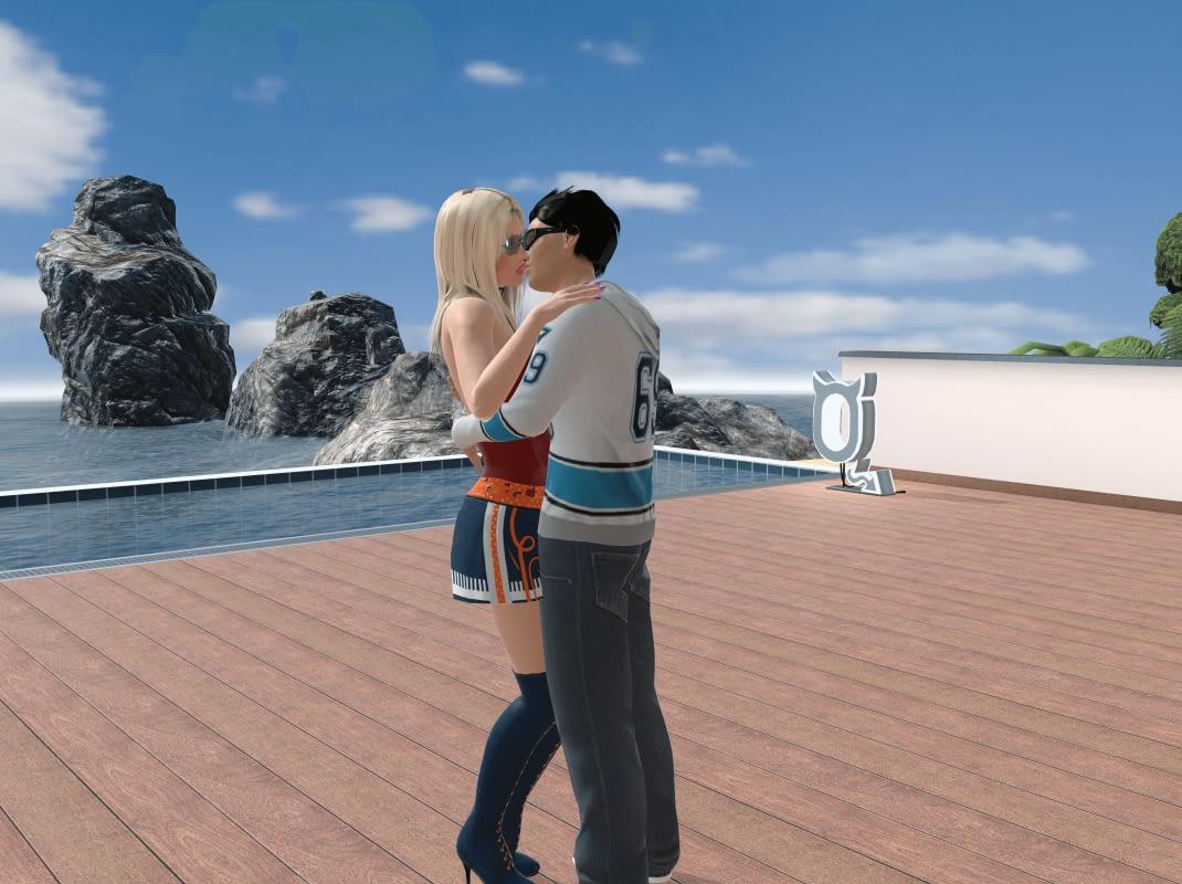 Zoenen met elkaar in de VR sex game Chathouse 3D Roulette