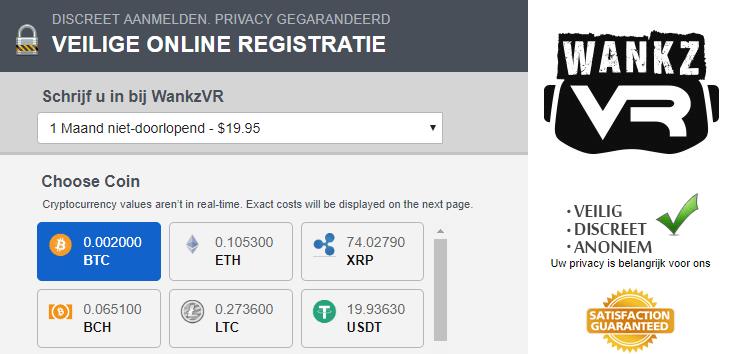 Incognito betalen met BTC op WankzVR